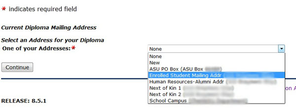 choose the address you would like your diploma mailed to