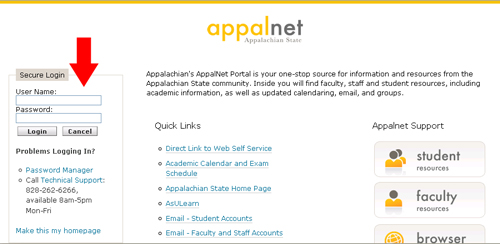 AppalNet login screen