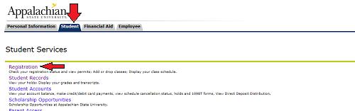 AppalNet self service student tab