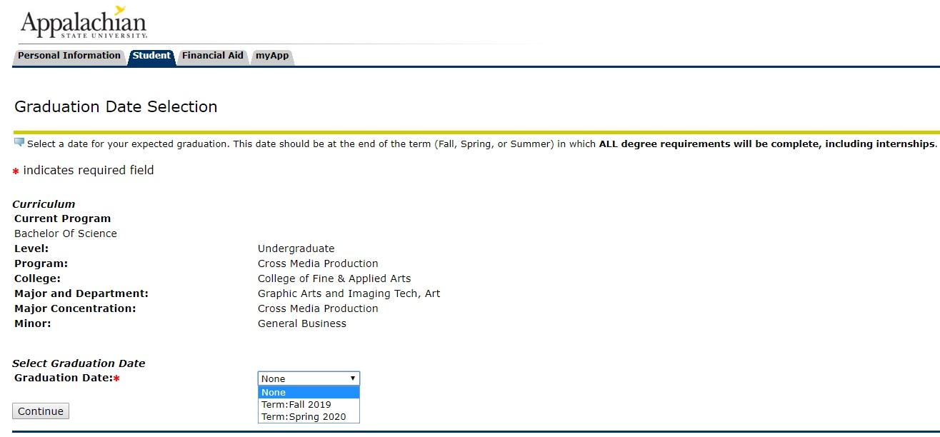 Graduation Date Selection