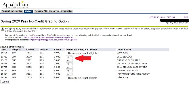 Pass No Credit Grading Option
