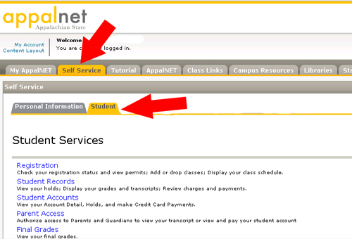 AppalNet self service tab