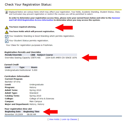 registration status screen