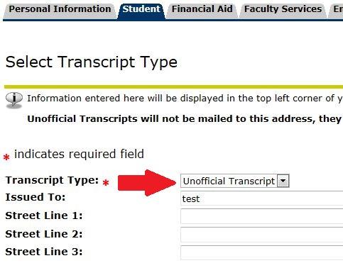 select transcript type - unofficial