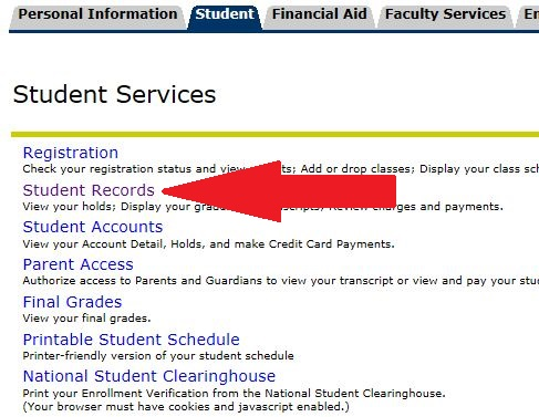 click student records link